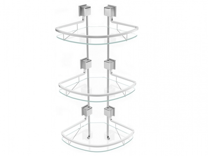 Triple glass corner shelf