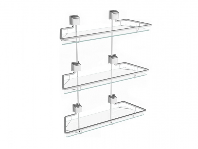 Triple glass shelf
